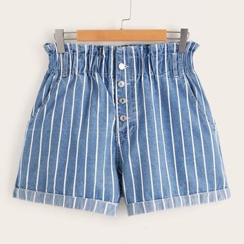 Plus Striped Button Fly Paperbag Waist Denim Shorts