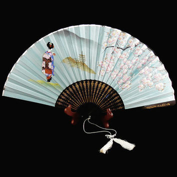 Vintage, Japanese, Beautiful Blue Silk, Hand Painted, Geisha and Cherry Blossoms, Celluloid Hand Fan