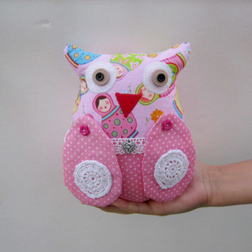 Shabby shic Owl,Ornies Bowl Fillers,Party Favors Decorations,Home Decor,nursery room,toys,pink, ornament, gift,fabric owl,Valentine's day