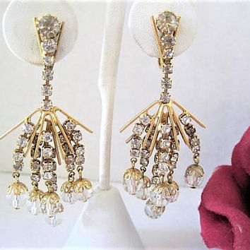 Rhinestone Chandelier Earrings, Crystal dangles, Gift for Mom, Gold Tone Metal, Clip Ons