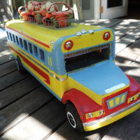 Guatemala chicken bus wooden pull toy