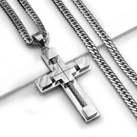 "24"" MEN's Stainless Steel 6mm Silver Double Cuban Curb Chain Necklace Cross Pendant"