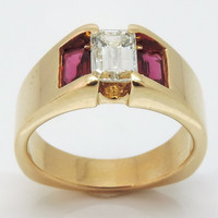 Vintage Custom 18k Emerald cut Diamond & Ruby Ring