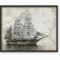Sailing Ship on an Antique Atlantic Ocean Map Wall Art Print - Marine Chart Decor - Sailing Poster - Tall Ship - Vintage Chart Collage