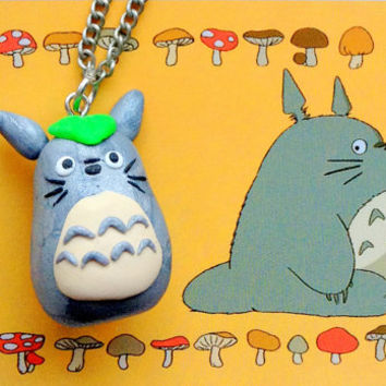 My neighbor Totoro polymer clay charm, Totoro necklace, studio Ghibli, Anime jewelry, Totoro pendant, cute clay necklace, chibi charm,