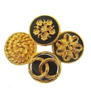 Chanel Gold Black Four Circle Charm Evening Pin Brooch