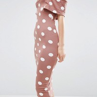 ASOS Polka Dot Short Sleeve Bardot Midi Dress at asos.com