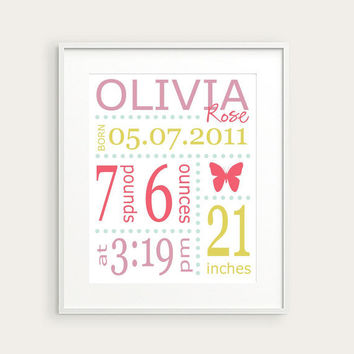 Personalized Girl's Nursery Birth Print, Butterfly, Pink Green Lavender, You Pick Color & Birth Details, Nursery Decor, Baby Gift