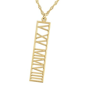 Personalized Roman Name Vertical Necklace Gold Fill 14K  Name Bar Any Name,nameplate monogram,celebrity