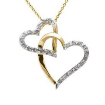18k Gold over Silver 1/4ct TDW Diamond Double Heart Necklace (J-K, I3) | Overstock.com