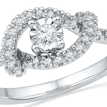 10kt White Gold Womens Round Diamond Cradle Solitaire Promise Bridal Ring 1/4 Cttw 100214