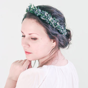 Bridal crown, Green floral crown, Woodland wedding hair accessories, Boho wreath, Wedding halo, Flower crown - JUNIPER