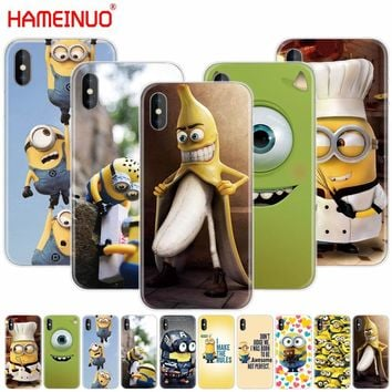 HAMEINUO Mike Wazowski minions banana cell phone Cover case for iphone X 8 7 6 4 4s 5 5s SE 5c 6s plus