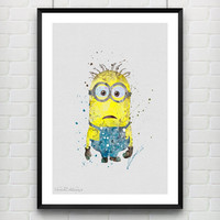 Minion Despicable Me Poster, Watercolor Print, Children's Room Wall Art, Minimalist Home Decor, Gift Not Framed, Buy 2 Get 1 Free! [No. 101]