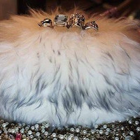 Skull KnuckleRing Box Luxury Clutch Real Fur Bridal Fox Funky Purse Bag Purses