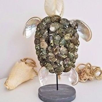 Natural Sea Shell Sea Turtle Figurine Sculpture Beach Ocean Coastal Home Decor