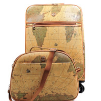 Vintage Style World Map Rolling Luggage Set