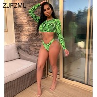 Green Snake Print Sexy 2 Piece Set Women O Neck Long Sleeve Crop Top+Bandage Shorts Sweatsuit Summer Beach Two Pcs Club Outfits