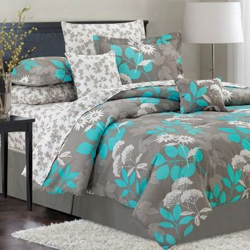 Crest Home Design Emilie Teal 10 Piece Bedding Set Comforters