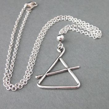 Triangle Musical Instrument Pendant Necklace Large Charm