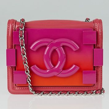Chanel Pink Ombre Plexiglass and Leather Boy Brick Mini Flap Bag
