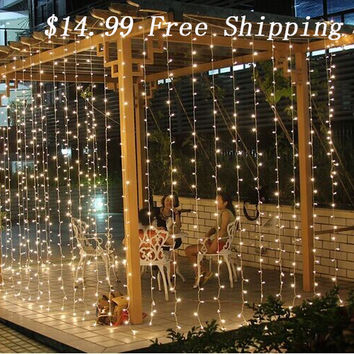 Free Shipping 3Mx3M 300LED Curtain Icicle led String Lights ChristmasNew Year Wedding Party decorative outdoor Lights 220V EU