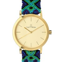 Maya Yellow Golden Watch with Crochet Band, Green/Blue/Multi - Toy Watch