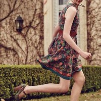 Needlepoint Garden Dress by Anthropologie Green