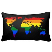 LGBT rainbow pride world map Pillow