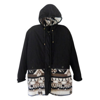 Hooded Coat Black Winter Coat Southwest Coat Southwestern Coat with Hood Women Winter Coat 90s Coat Aztec Coat Plus Size Coat Oversize Coat