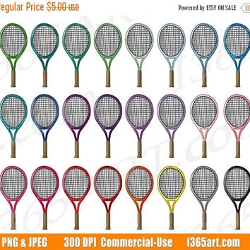 50% OFF SALE Tennis Racket Clipart, Tennis Clip Art, Sports Equipment, Tennis Game, Olympics, Fitness Exercise, Planner Sticker, Commercial