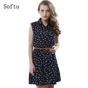 Softu  Women's Fashion Summer Casual Shirts Dress Sleeveless Tank Knee Length A Line Dress Cat Printed Dresses With Belt