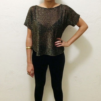 Vintage 70s Black and Gold Mesh Stretch Batwing Top M
