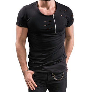 Men's O-neck  Holes & Zipper t shirt