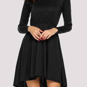 Black Irregular Draped High-low Round Neck Party Midi Dress