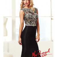 (PRE-ORDER) Mac Duggal 2014 Prom Dresses - Black Taffeta & Lace Applique Cap Sleeve Prom Gown