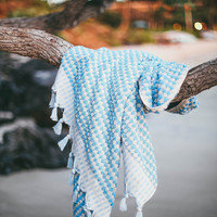 Fluffy Turkish Towel in Baby Blue