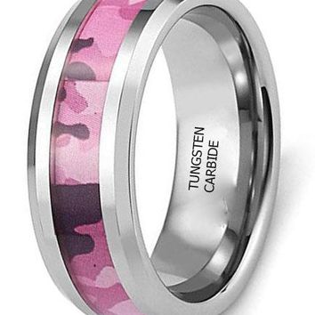 CERTIFIED Men's 8mm Pink Camo Tungsten Wedding Band Rings