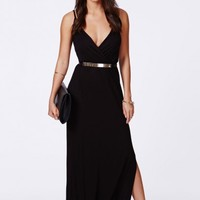 Missguided - Lumie Black Strappy Wrap Front Maxi Dress