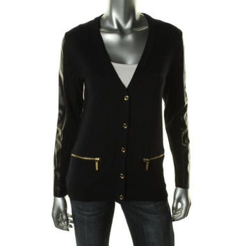MICHAEL Michael Kors Womens Faux Trim Long Sleeves Cardigan Sweater