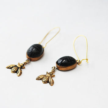 Carved Scarab and Bee Dangle Earrings with Kidney Clasp