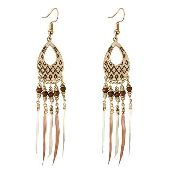 Tocona Bohemian Long Tassel Feather Earring Geometric Vintage Ethnic Pendant Drop Earring for Women Girl Earring Jewelry 4316