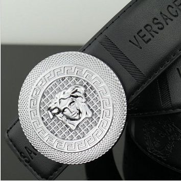 Versace casual fashion head smooth buckle belt men's belt black/silver