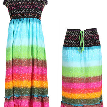 Multi-Colored Rainbow Design 3-In-1 Summer Beach Tube Dress/Cover-up
