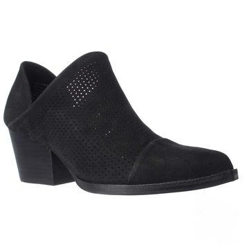 STEVEN Steve Madden Skelos Perforated Ankle Booties, Black, 8 US