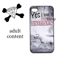 apple iPhone 4 4s iphone 5, s3, ipod touch 4, 5 Case - Yes i am a (bleeping) unicorn - aDuLT pfofanity