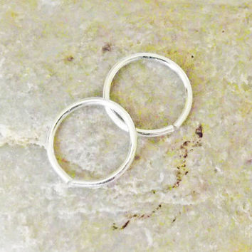 Cartilage Piercing, Mini Hoop Earrings, Sterling Silver, Nose Ring, 20 Gauge, Set of 2