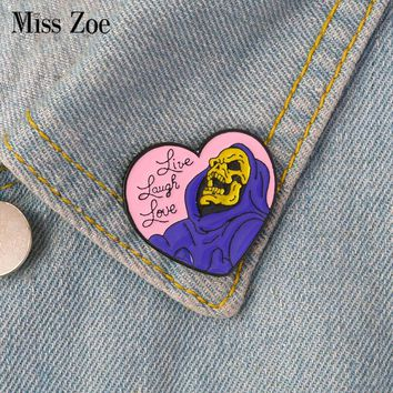 Live Laugh Love enamel pin Heart shape Skeleton Badge Brooch Lapel pin for Denim Jeans shirt bag Gothic Jewelry Gift for friend