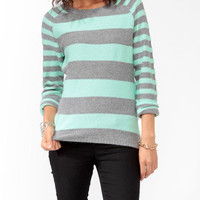 Striped Contrast Sleeve Sweater