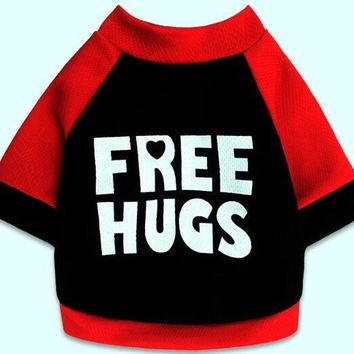 """Dogs cats fashion spring summer vest """"FREE HUGS"""" printed doggy t shirt clothes puppy vests costume 1pcs XS S M L"""